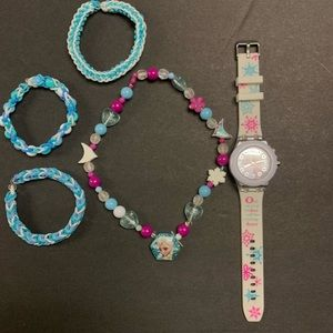 Frozen watch necklace and 3 Rainbow Loom Bracelets